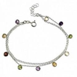 Pulsera plata Ley 925m rodiada doble cadena 18cm. piedras boceladas colores colgando cierre reasa