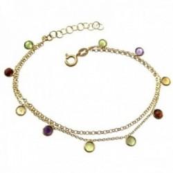 Pulsera plata Ley 925m chapada oro doble cadena 18cm piedras boceladas colores colgando cierre reasa