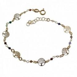 Pulsera plata Ley 925m chapada oro 19cm. Árboles de la Vida calados cadena piedras colores reasa