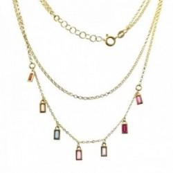 Gargantilla plata Ley 925m chapada oro doble cadena 38cm. 42cm. barretas circonitas colores reasa