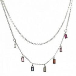 Gargantilla plata Ley 925m rodiada doble cadena 38cm. 42cm. barretas circonitas colores cierre reasa