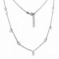 Gargantilla plata Ley 925m rodiada 42cm. detalle piedras formas ovales lágrimas cierre reasa