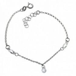 Pulsera plata Ley 925m rodiada cadena rolo 18cm. detalle piedras formas ovales lágrimas cierre reasa