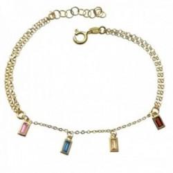 Pulsera plata Ley 925m chapada oro 17cm. centro piedras colores rectangulares colgando cierre reasa