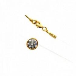 Gargantilla plata Ley 925m chapada oro sedal transparente chatón circonita 6mm. cierre mosquetón