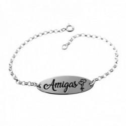 Pulsera plata Ley 925m cadena rolo 18.5cm. chapa oval 30x10mm. palabra AMIGAS dibujo corazones
