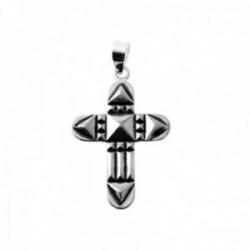 Colgante plata Ley 925m cruz Atlante 30mm. doble cara detalles amuleto protección