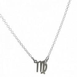 Gargantilla plata Ley 925m cadena rolo 44cm. detalle signo Zodiaco Virgo liso