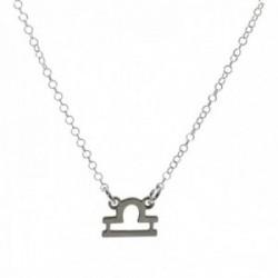Gargantilla plata Ley 925m cadena rolo 44cm. detalle signo Zodiaco Libra liso