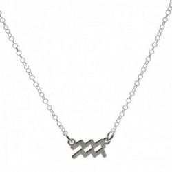 Gargantilla plata Ley 925m cadena rolo 44cm. detalle signo Zodiaco Acuario liso