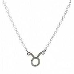 Gargantilla plata Ley 925m cadena rolo 44cm. detalle signo Zodiaco Tauro liso