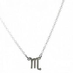 Gargantilla plata Ley 925m cadena rolo 44cm. detalle signo Zodiaco Escorpio liso