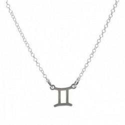 Gargantilla plata Ley 925m cadena rolo 44cm. detalle signo Zodiaco Géminis liso