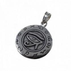 Colgante plata Ley 925m ojo de horus 23mm. amuleto talismán unisex redondo