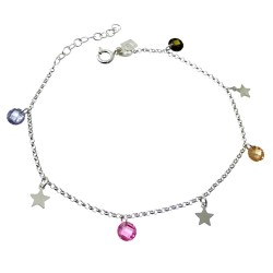 Pulsera plata Ley 925m cadena rolo 17.5cm. piedras colores 5mm. estrellas colgando cierre reasa