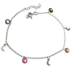 Pulsera plata Ley 925m cadena rolo 17.5cm. piedras colores 5mm. lunas lisas colgando cierre reasa