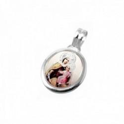 Medalla plata ley 925m. Virgen Carmen 24mm. resina plástica transparente sobre imagen cerco liso
