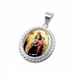 Medalla plata ley 925m. Virgen Carmen 28mm. resina plástica transparente sobre imagen cerco tallado