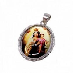 Medalla plata ley 925m. Virgen Carmen 24mm. resina plástica transparente sobre imagen cerco tallado
