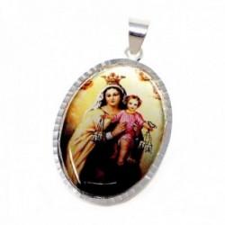 Medalla plata ley 925m. Virgen Carmen 38mm. resina plástica transparente sobre imagen cerco tallado