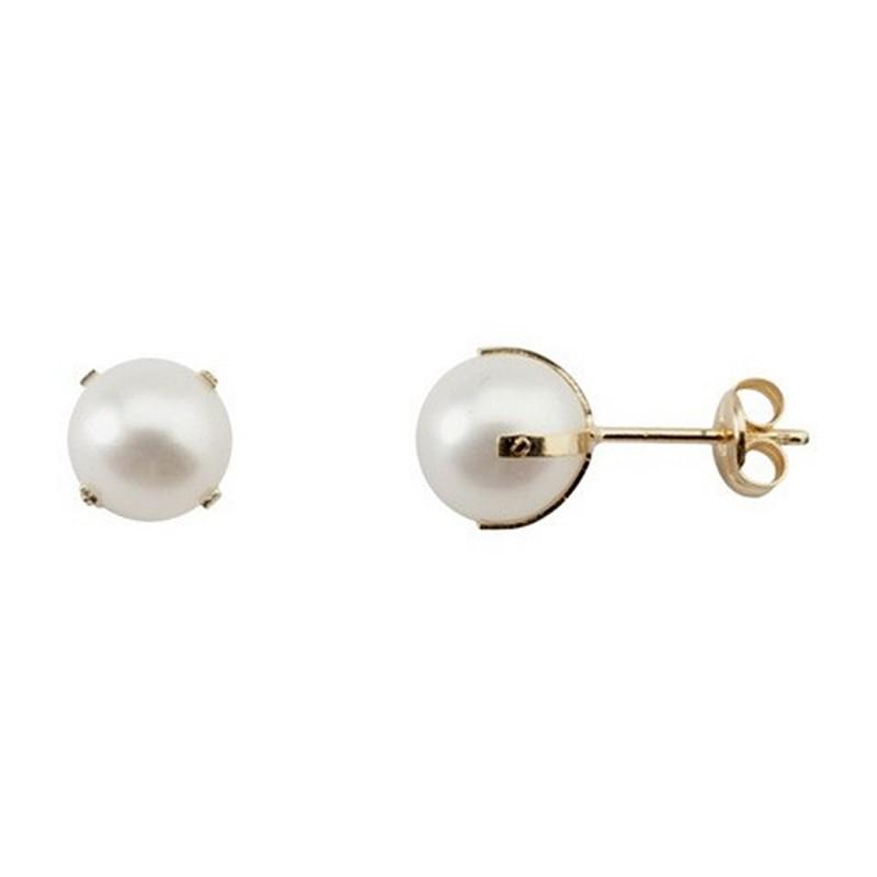 a7c5a0a77d2a Pendientes oro 18k perla cultivada patilla empernada 7-7