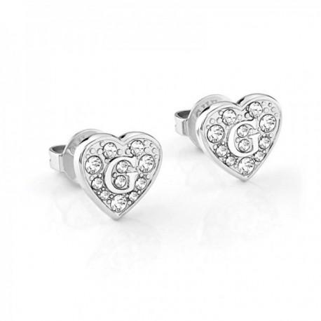 Pendientes Guess G SHINE UBE79072 acero inoxidable chapado rodio corazón logo cristales Swarovski
