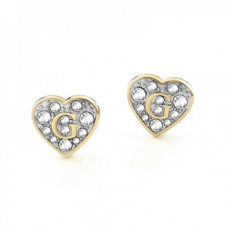 Pendientes Guess G SHINE UBE79073 acero inoxidable chapado oro corazón logo cristales Swarovski