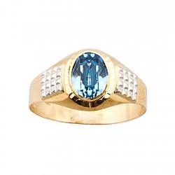 Sello oro 18k cadete bicolor piedra azul 6x8mm. [5641]