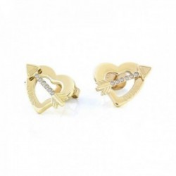 Pendientes Guess Across My Heart UBE79122 acero inoxidable chapados oro corazón flecha logo