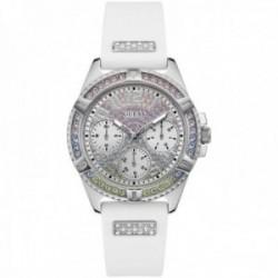 Reloj Guess mujer Lady Frontier GW0045L1 blanco silicona esfera bisel piedras colores