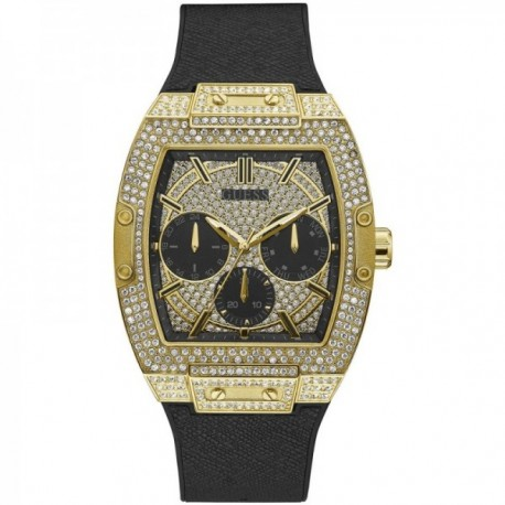 Reloj Guess hombre Phoenix GW0048G2 negro esfera dorada rectangular piedras