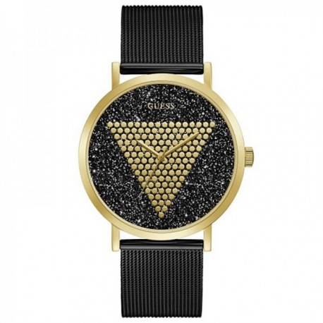 Reloj Guess hombre Imprint GW0049G2 negro esfera logo dorado puntos fondo purpurina malla milanesa