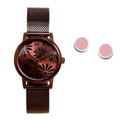 Juego Agatha Ruiz de la Prada reloj AGR262 chocolate pendientes plata Ley 925m círculo esmaltado
