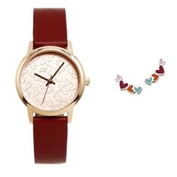 Juego Agatha Ruiz de la Prada reloj AGR283 burdeos pendientes plata Ley 925m corazones colores