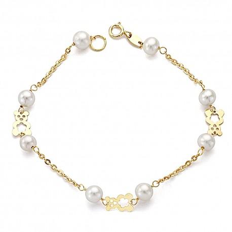 Pulsera oro 18k perlas y ositos comunión 18.5cm. [9012]