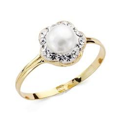 Sortija oro 9k flor centro perla circonitas comunión [AA7530]