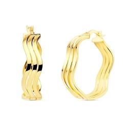 Pendientes oro 18k mujer aros 23mm. redondos huecos triples ondulados brillo cierre palillo