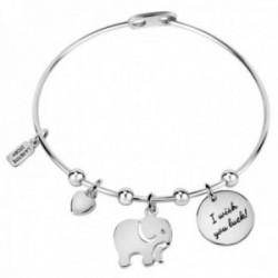 Brazalete La Petite Story LPS05ARR42 colección Friendship latón charms frase elefante corazón