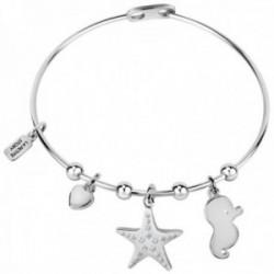 Brazalete La Petite Story LPS05ARR46 colección Friendship latón caballito de mar estrella corazón