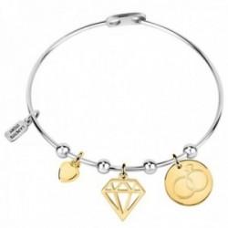 Brazalete La Petite Story LPS05ASD04 bicolor colección Love latón charms diamante alianzas corazón