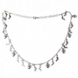 Gargantilla plata Ley 925m cadena 42cm. alterna 5x1 fetiches delfines corazones lisos colgando