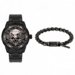 Juego set reloj y pulsera Police FW19XMASSET esfera calavera relieve negro acero inoxidable