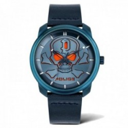 Reloj Police hombre PL.15714JSBL-03 colección Bleder esfera calavera naranja acero inoxidable