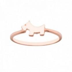 Sortija plata Ley 925m rosada lisa centro detalle perrito