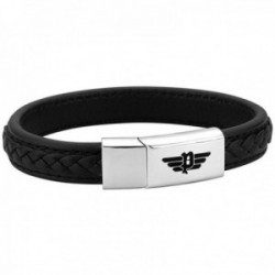 Pulsera Police hombre PJ.26268BLB-01-S colección Annandale acero inoxidable logo cuero trenza negro