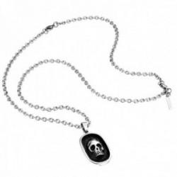 Collar Police hombre PJ.25569PSS-01 colección Tombstone acero inoxidable calavera esmalte negro