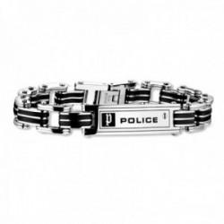 Pulsera Police hombre PJ.24919BSB/01-S colección Carb acero inoxidable detalles caucho negro