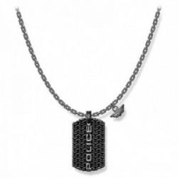 Collar Police hombre PJ.26565PSE-01 colección Engawa acero inoxidable logo efecto oxidado