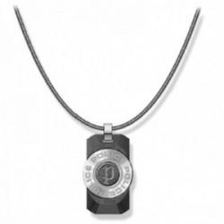 Collar Police hombre PJ.26567PSS-01 colección Noto acero inoxidable cola ratón colgante piedra negra