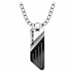 Collar Police hombre PJ.26572PSS-01 colección Boyne acero inoxidable colgante plateado negro